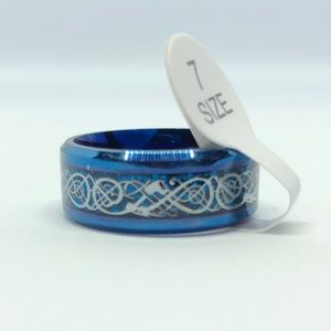 Other - Blue Stainless Steel Celtic Dragon Ring Size 7